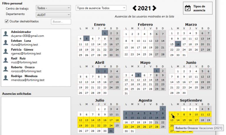 calendario ausencias ForTiming